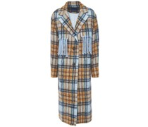 Fringed Checked Brushed-felt Coat