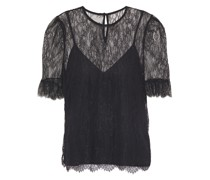 The Ophelia Ruffle-trimmed Chantilly Lace Top