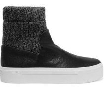 Beverly knitted and textured-leather high-top sneakers