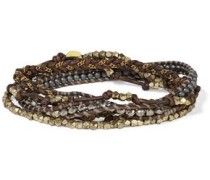 Silver-tone beaded chain-trimmed leather bracelet