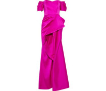 Off-the-shoulder ruffled satin-faille gown