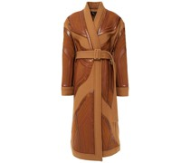 Belted Patchwork Snake-effect, Faux Leather And Wool Coat