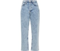 Acid-wash High-rise Straight-leg Jeans