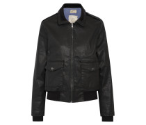 The Southside Coated Denim Bomber Jacket Schwarz