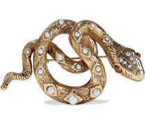 22-karat -plated, Faux Pearl And Crystal Brooch