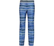 Mikado Striped Silk And Cotton-blend Pants Blau