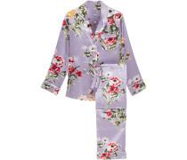 Lila Printed Silk-charmeuse Pajama Set