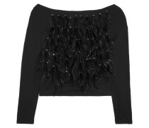 Feather And Crystal-embellished Jersey Sweater Schwarz