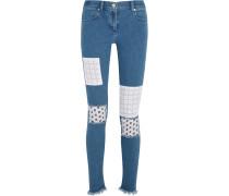Appliquéd Mid-rise Skinny Jeans Mittelblauer Denim