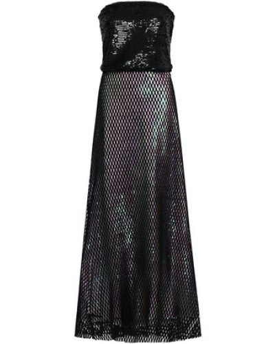 Layered Sequined Tulle And Mesh Gown Black