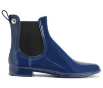 Glossed-rubber rain boots