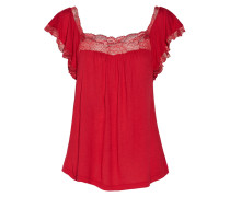 Cassandra Lace-trimmed Stretch-jersey Pajama Top Rot
