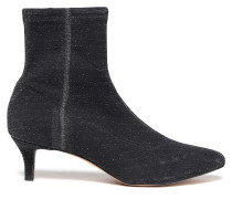 Metallic Stretch-knit Ankle Boots