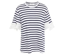 Ruffled Woven And Striped Cotton-jersey T-shirt
