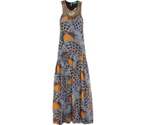 Embellished Printed Washed-silk Maxi Dress Mehrfarbig
