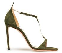 Sandalen aus Veloursleder mit Kettenverzierung