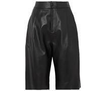 Shorts aus Leder mit Falten