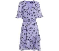 Wrap-effect Ruffled Floral-print Crepon Dress