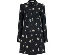 Embroidered Crepe Mini Dress Schwarz