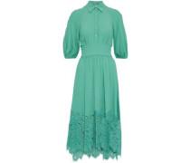 Guipure lace-paneled crepe midi dress