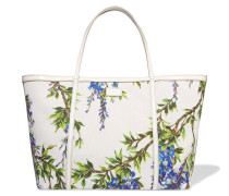 Printed Leather-trimmed Woven Tote Weiß