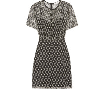 Reply Embroidered Lace Mini Dress Schwarz