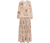 Pleated Printed Silk Maxi Dress Beige