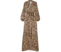 Piera Robe aus Gehämmertem Seidensatin mit Leopardenprint und Schleife