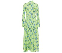 Aurora Fil Coupé Printed Cotton-blend Midi Dress