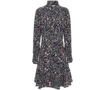 Woman Ruffle-trimmed Floral-print Silk-cady Mini Shirt Dress Navy