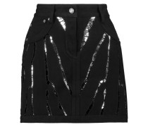 Sequin-embellished Denim Mini Skirt Schwarz