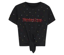 + Peter Saville Knotted Embellished Printed Cotton-jersey T-shirt