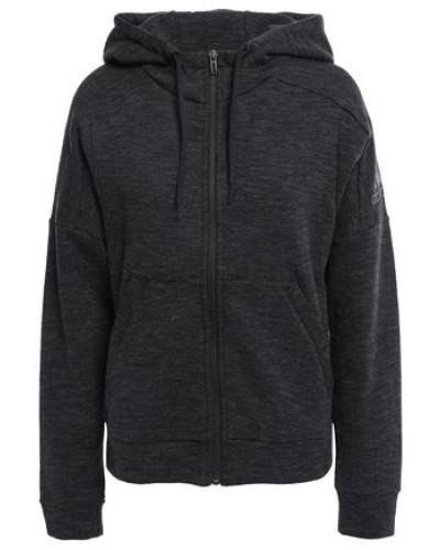 Woman Logo-print Cotton-blend Jersey Hoodie Charcoal