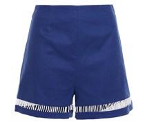 Moth Cutout Stretch-linen And Cotton-blend Shorts