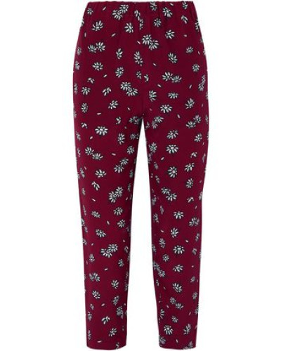 Woman Cropped Floral-print Silk-crepe Slim-leg Pants Plum