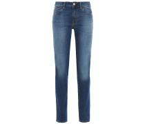 Printed Faded Mid-rise Slim-leg Jeans