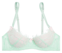 Lace And Stretch-tulle Balconette Bra Mint