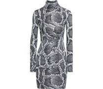 Minikleid aus Stretch-jersey mit Rollkragen und Schlangenprint