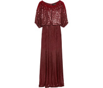 Cape-effect Sequined Silk-voile Gown Burgunder