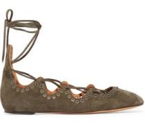 Leoni eyelet-embellished suede lace-up ballet flats
