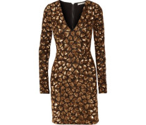 Nora metallic beaded and sequined mesh mini dress