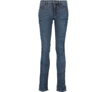 Ruched Low-rise Skinny Jeans Mittelblauer Denim
