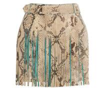 Fringed croc-effect leather mini skirt