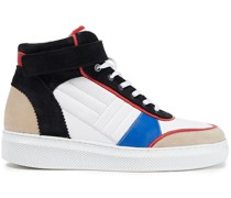Altoh Color-block Leather And Suede High-top Sneakers
