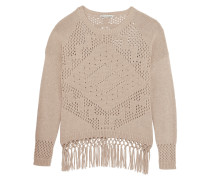 Fringed Open-knit Cotton Sweater Champignon