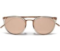 Caty-eye -tone And Acetate Mirrored Sunglasses