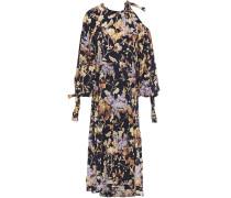 Cold-shoulder Floral-print Stretch-silk Midi Dress