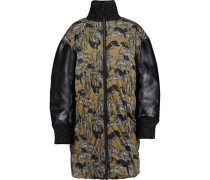 Printed padded shell down and faux leather jacket