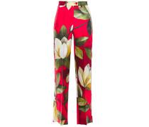 Woman Zelos Floral-print Silk-twill Straight-leg Pants Red