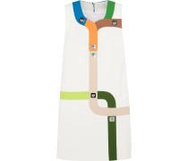 Track Embellished Crepe Mini Dress Weiß
